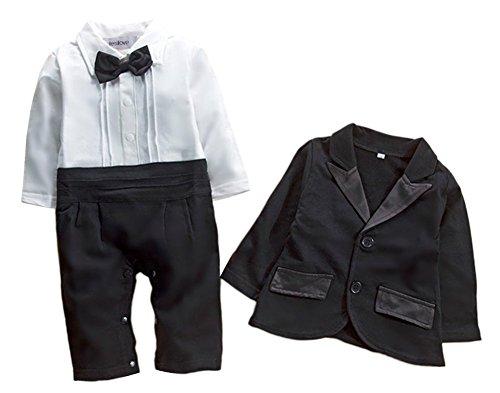 stylesilove Baby Boy Tuxedo Romper and Jacket 2-pc Formal Wear Suit (80/6-12 Months) Black