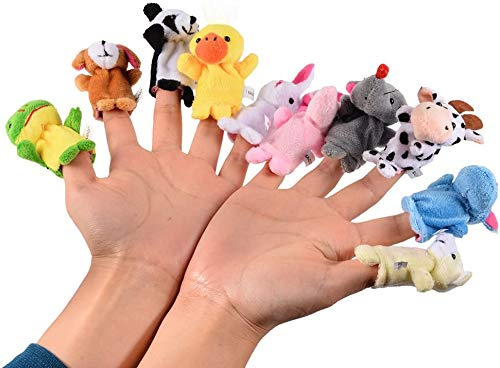 Naolve 10pcs Soft Plush Animal Finger Puppets Set Baby Story Time Velvet Dolls Props Toys | Panda Rabbit Elephant Party Favors Gift for Kids Playtime Animal Style for Toddlers