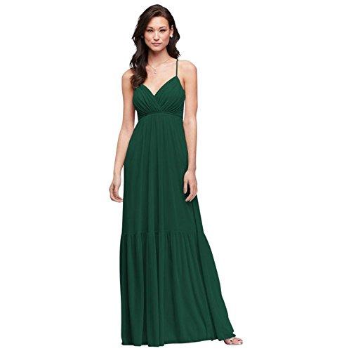 David's Bridal Surplice Mesh Bridesmaid Dress with Peasant Skirt Style F19771, Juniper, 26