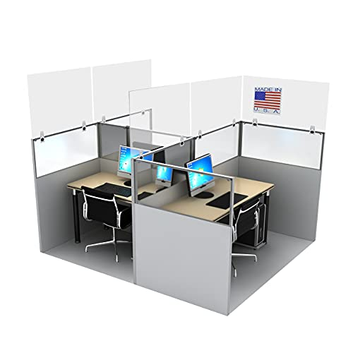 Cubicle Sneeze Guard by SPEEDYORDERS - Clear Cubicle Shield Divider Acrylic Plexiglass With Removable Clamps For Offices - Cubicle Wall Extender 1/4' Thick 48'W x 24'H - Includes 3 clamps
