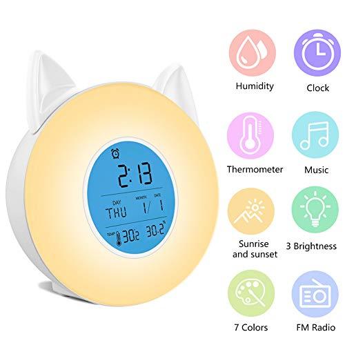 GKJRKGVF Multifunctioneel wakker helder nachtlichtproject LCD-muziek FM-radio 3 brightnress 7 kleuren wekker-thermometerhygrometer op