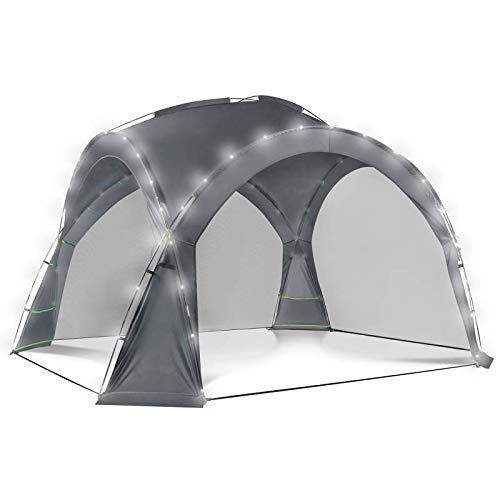 IDMarket - Tente dôme Gris Anthracite 3,5M avec LED