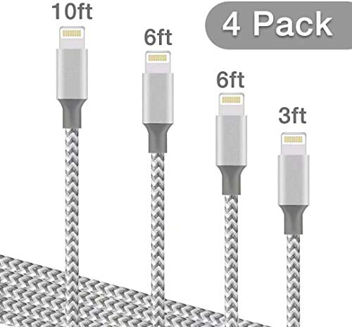DNLM iPhone Charger, MFi Certified Lightning Charging Cable, USB Nylon Braided Syncing 4Pack 3FT 6FT 6FT 10FT Compatible iPhone Xs/Max/XR/X/8/8Plus/7/7Plus/6S/6S Plus (Grey and White)