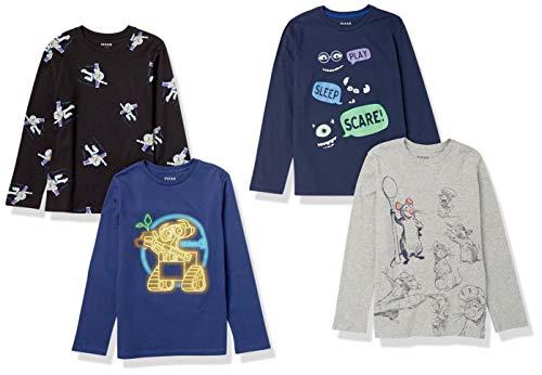 Spotted Zebra Disney Star Wars Marvel Long-Sleeve T-shirt, 4er Pack, Pixar Collection Friends, Medium