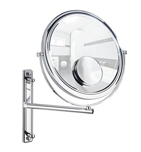 WENKO 3656370100 Kosmetikspiegel Bivona, Wandspiegel, höhenverstellbar, schwenkbar, Spiegelfläche ø 25,5 cm, Stahl, 30 x 34 x 22.5 cm, Chrom