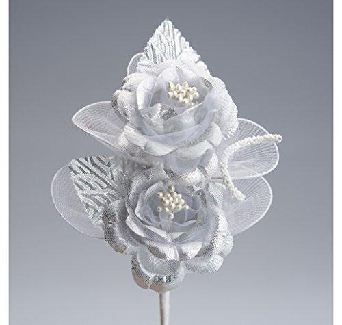 Set 24 pezzi, Bomboniera fiore BOUQUET 2 ROSE, stoffa lame' con racchette portaconfetti