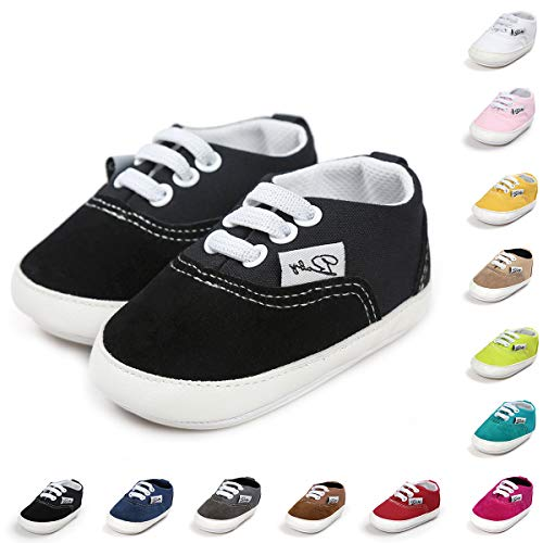 BENHERO Baby Boys Girls Canvas Toddler Sneaker Anti-Slip First Walkers Candy Shoes 0-24 Months 12 Colors(13cm,12-18 Months Toddler, Aa/Black)