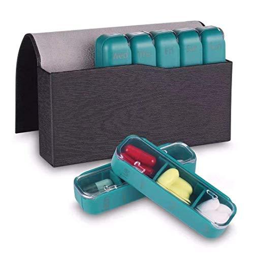 ZOCIPRO Versetzbar Tablettenbox 7 Tage Pill Organizer, Pillendose mit Beweglichen Fächern, Tabletten Wochenbox mit Feuchtigkeitsbeständigem Design & PU-Ledertasche für Vitamin Fischöl Aspirin