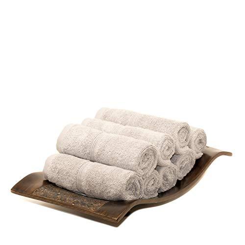 MOSOBAM Lot de 8 Serviettes de Toilette de Luxe en Bambou 700 g/m²