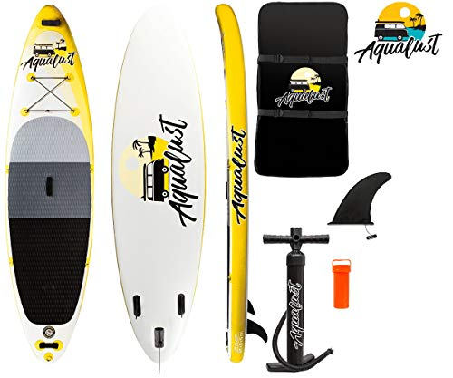 "AQUALUST 10\'6\"" SUP Board Stand Up Paddle Surf-Board aufblasbar ISUP 320x81x15cm gelb"