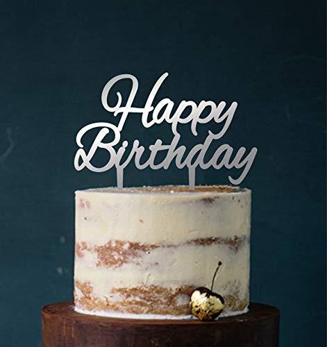 Manschin-Laserdesign Cake Topper, Tortenstecker Acryl/Holz Happy Birthday Geburtstag Topper Einstecker, Stecker, Torte, Kuchen (Spiegel Silber (Einseitig)) Art.Nr. 5103