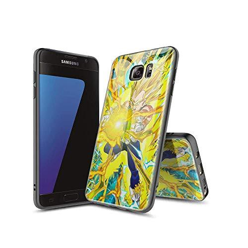 XiASoNFu Compatible con Samsung Galaxy S7 Edge Funda, Carcasa Protectora de Cristal Templado con Tapa Trasera, Dureza 9H, Marco de TPU Flexible Case Cover para Samsung Galaxy S7 Edge #A004