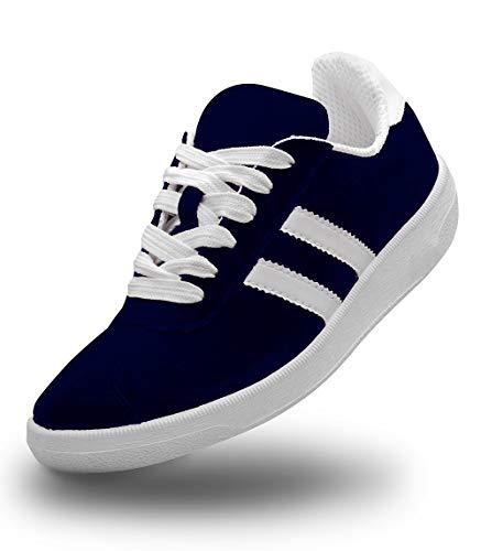 Sneakers - Unisex Schuhe - für Männer - Frauen - Teenager - Wildleder - Freizeitschuhe - Bequem - Leicht - Zum Wandern bei trockenem Wetter - Wildleder Sneakers - Blau - Größe 42