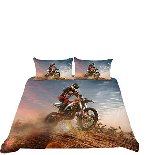 Motorcycle Duvet Cover Extreme Sports Theme Decor Single Size Bedding Duvet Cover Motocross Printed Pattern Comforter Cover for Adult Kids Teens Boys 2 Pieces Bedding Set Sport Fans Quilt Cover