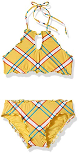 Hobie Girls' Big High Neck Bikini Top and Hipster Bottom Swimsuit Set, Dandelion//Check it Out, 14