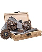 QIDUN 3D Unique Design Handmade Mens Wood Bow Tie with Matching Pocket Square and Men's Cufflinks Set (Silver)