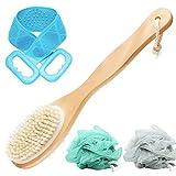 LandJoy Körperbürste,Badebürste,Massagebürste,Rückenbürste langem Stiel,Rückenschrubber,Perfekt für die verbessert Lymphfunktionen und trockene Haut,Rücken Peeling Körper Fuß,Badeschwamm