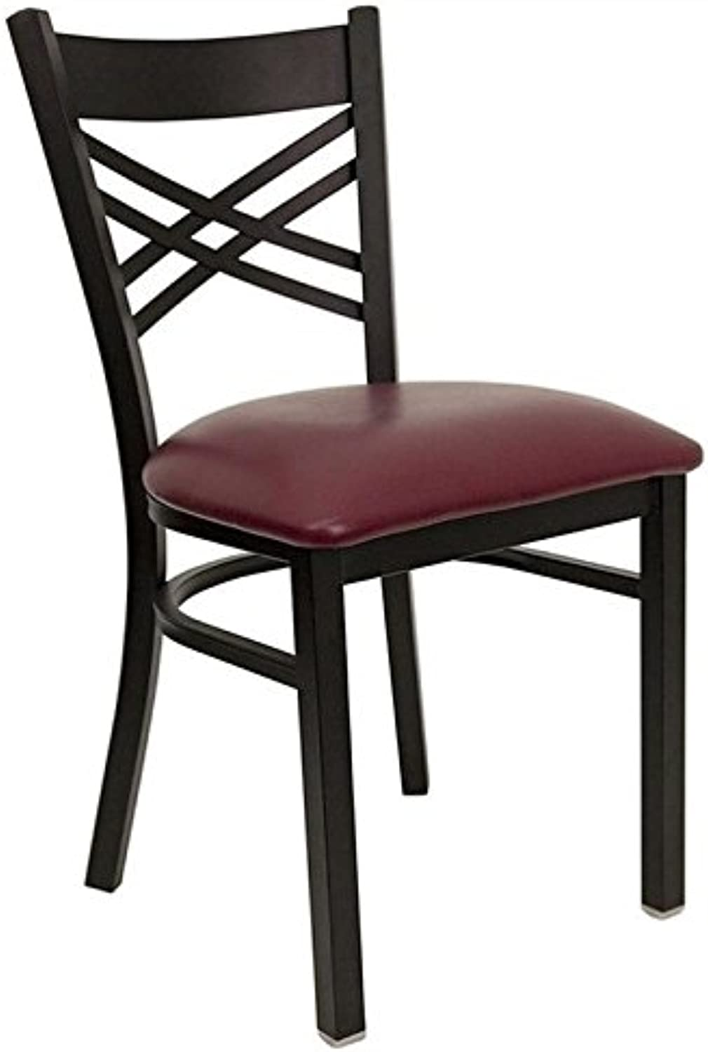 Bowery Hill Black Back Metal Dining Chair in Burgundy