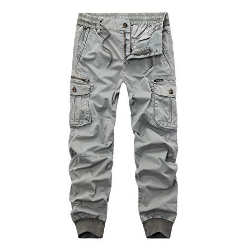 Pantalones Cargo para Hombre, Color sólido, Ajustado, Multibolsillos, Casuales, con viga, Estilo Militar, Campo, Caza, Pantalones hasta el Tobillo 36