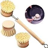 BETOY Ensemble de Brosses à vaisselle en bois - brosse à vaisselle longue manche,Set de brosses de nettoyage en bois avec 3 têtes de rechange Ø 6,5 cm
