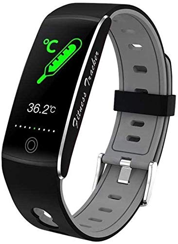 GANG Moda Deportes Cuerpo Temperatura Pulsera Inteligente All-Tiempo Multi-Deportes Pulsera Impermeable Tarifa Sangre Oxygen Smart Monitoring Watch-Black Exclusivo/Negro
