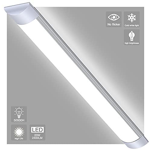 20W Luminaria Lámpara de techo Tubo LED 60CM Ultrafino Lamparas Cocina Techo 6500K Directa y sin parpadeos ,supermercado hogar para Fábrica Hotel Oficina (Blanco Frio (6500k), 20W - 60CM)