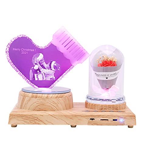 Calcetín navideño y lámpara de flores Luz de cristal 3D Luz de foto personalizada Luz de música Bluetooth Navidad para mujeres(Rosa roja)