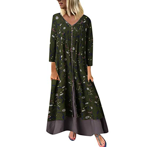 New New in Respctful✿ Maxi Dress for Women Long Sleeve Cotton Casual Floral Loose Plus Size Irregu...