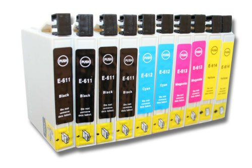 vhbw Pack de 10 Cartuchos de Tinta Compatible con Epson Stylus D68, D88, D88 Plus, DX3800, DX3850 - Cian, Magenta, Yellow, Negro (Compatible)