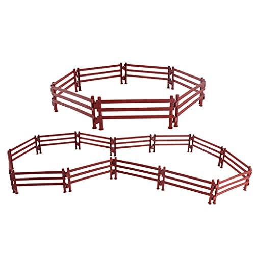 SunniMix Miniatur Corral Fechten Spielset Kunststoff Zaun Spielzeug mit Schnallen für DIY Bauernhof Barn Paddock - 20pcs Stil B