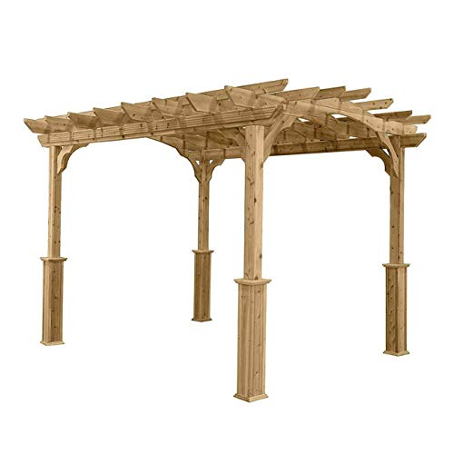 Suncast 10' x 12' Wood Pergola - Open Stable Pergola Perfect for...