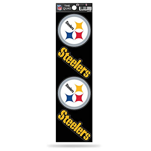 NFL Rico Industries Die Cut 4-Piece The Quad Sticker Sheet, Pittsburgh Steelers , 3 x 11.5-inches