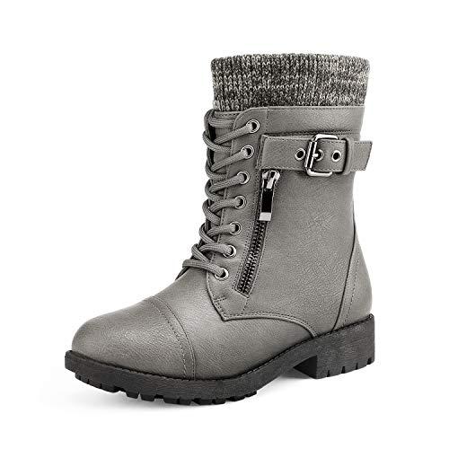 DREAM PAIRS Little Kid Amazon-K Grey Girl's Mid Calf Combat Boots Size 12 M US Little Kid