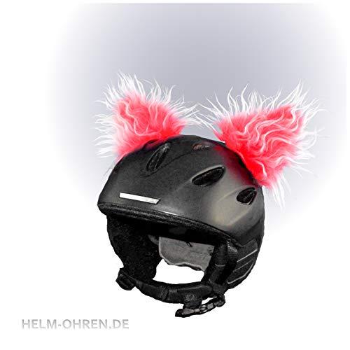 Helmohren für den Skihelm, Snowboardhelm, Kinder-Helm, Kinder-Skihelm, Motorradhelm o. Fahrradhelm - der HINGUCKER - für Kinder und Erwachsene HELMDEKO (Ohren: Rot-Weiß Deluxe)