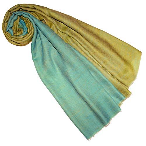 Lorenzo Cana Luxus Damen Schal Wendeschal Schaltuch 100% Kaschmir Kaschmirschal Kaschmirtuch Damenschal Gewebt Zweifarbig, Türkis-gold, 70 x 200 cm