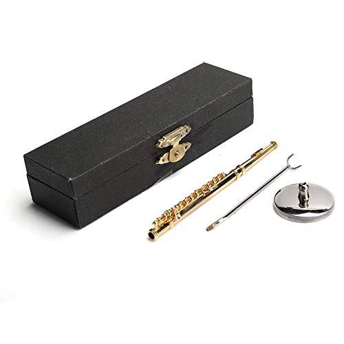 Tnfeeon Flauta Miniatura, 1: 6 Mini casa de muñecas Flauta Cobre Instrumentos de Flauta de Oro Mini colección Musical para casa de muñecas Decoración en Miniatura(Oro 11cm)