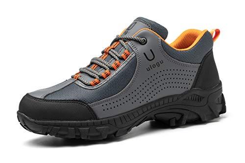 ZOEASHLEY - Zapatillas de seguridad para hombre, ligeras, transpirables, zapatillas de seguridad, zapatos de trabajo, Gris (160 Gris), 44 EU