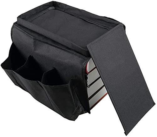 XQMY 6 Bolsillos Sofá Sofá Reposabrazos Organizador de Almacenamiento Colgante Soporte de Control Remoto de TV Práctico Libro de Almacenamiento de revistas-Negro