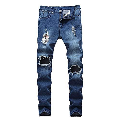 LONGBIDA Men's Ripped Skinny Destroyed Holes Jeans Low Waist Slim Fit Stretch Denim Pencil Pants(Dark Blue,32)