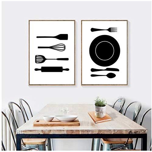 NIEMENGZHEN Druck auf Leinwand Küche Ist Für Tanzen Zitat Wandkunst Drucke Und Poster Kochen Geschirr Leinwand Malerei Wandbilder Home Küche Decor-50x70 cm Kein Rahmen