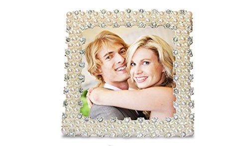 Trendfinding Marco de fotos cuadrado con perlas de estrás, formato vertical y horizontal, con soporte (cuadrado)