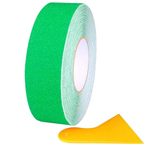 Gebildet 20m×5cm Cinta Adhesiva Antideslizante, Cinta Antideslizante que Mejora el Agarre, Pegatina de Seguridad Adhesiva Fuerte, Verde (con Escobilla de Goma de PP Amarilla)