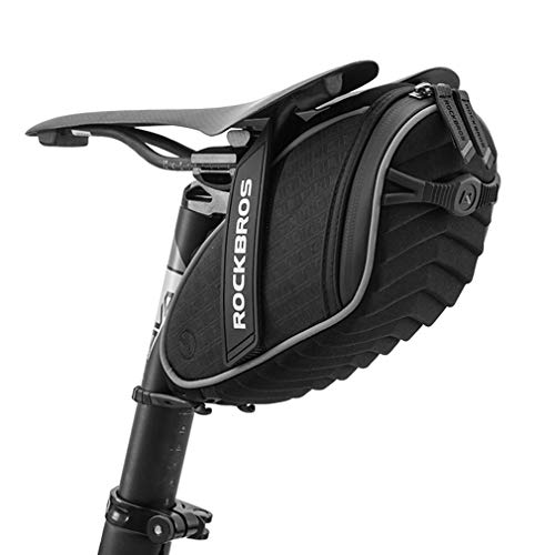 ROCKBROS(ロックブロス)サドルバッグ 自転車 バッグ ロードバイク 撥水 大容量 3Dシェル 取り付け簡単 反射付き サイクリング(ブラック)