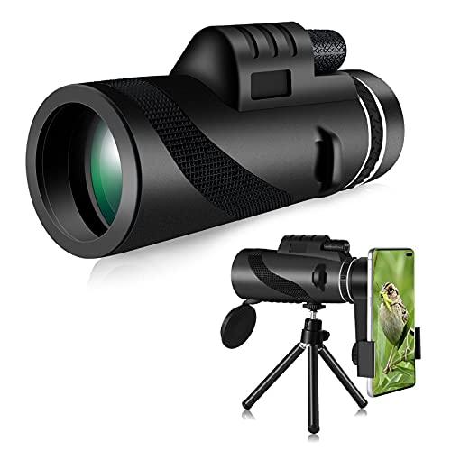 Telescopio Monoculare, Aesdtoop 80x100 HD Monocular con Adaptador de Soporte para Smartphone y Trípode para Juego de Pelota Avistamiento Aves Caza Camping