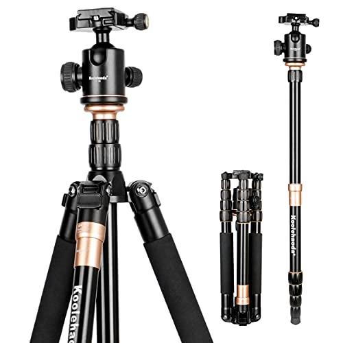 Koolehaoda KQ-666 Trépied d'appareil-photo de reflex en aluminium Et Tête sphérique Portable compact de voyage pour appareil photo reflex Canon Nikon Petax Trépied Sony Charge maximale: 15 kg