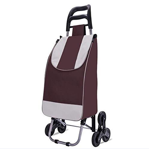 WYZXR Einkaufswagen Tragbare Gebrauchswagen Klappwagen Leichter Treppensteigwagen mit dreieckigem Gummirad - 35 kg Kapazität,40 l,wasserdichte abnehmbare Tasche,braun a/