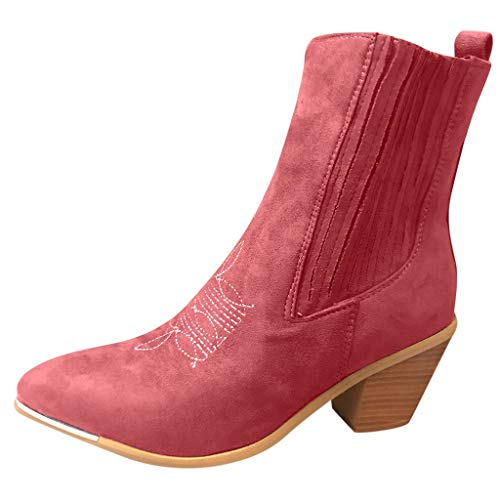 NI_ka Women's Ladies Fashion Rome Pointed Toe Square Heels Shoes Short Ankle Boots Pink CN:40