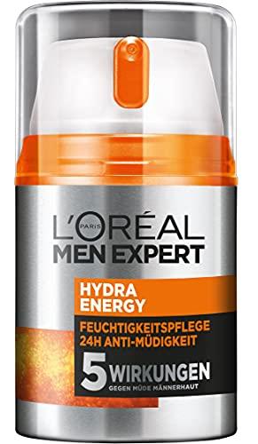 L\'Oréal Men Expert Gesichtspflege für Männer, Feuchtigkeitscreme mit Guarana und 4x mehr Vitamin C, Hydra Energy Feuchtigkeitspflege 24H Anti-Müdigkeit, 2 x 50 ml