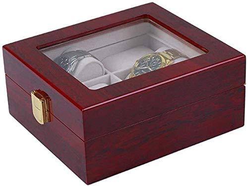 JSDKLO Watch Display Storage Box Storage Box, Sleek Minimalist Watch Box Storage Box 6-slot Watch Box Storage Box Display Stand Glass Top Wooden Box Jewelry Box