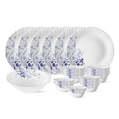 Larah by Borosil Blue Eve Silk Series Opalware Dinner Set, 19 Pieces, White